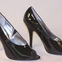 New Jessica Simpson Womens Shoes Newport Peep Toe Pumps Black Patent 8.5 Photo