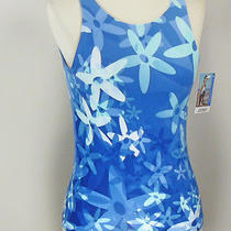 New Jockey Ladies Aqua Print Sport Performance Tank Top W/ Shelf Bra Size Small Photo