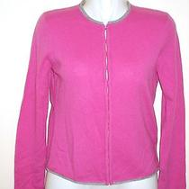 New Joie 100% Cashmere Sweater Hot Pink Cardigan Grey Trim Crop Career Work M Photo