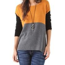 New Joie Astaine Sweater Woman Sz L in Dark Heather Grey/golden Amber/ Caviar Photo