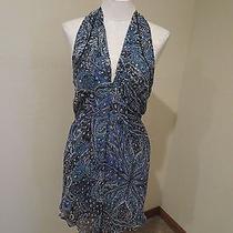 New Joie Evelina Silk Chiffon Sheer Racerback Paisley Print Dress 288 Teal Lg Photo