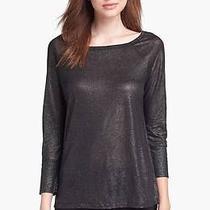 New Joie Linen Slub Metallic Top Sweater Black Sz Xs Photo