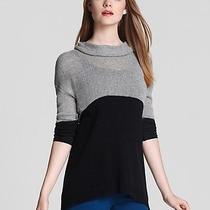 New Joie Linnea Turtleneck Sweater Woman Sz L in Caviar/grey Heather Charcoal Photo