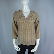 New Joie Oliana Herringbone Silk Top Woman Sz M in Warn Chestnut Photo