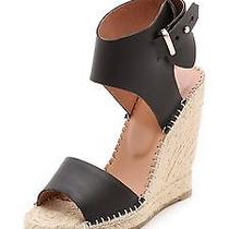 New Joie Palo Leather Espadrille Wedge Black Sz 9 Retail 255 Photo