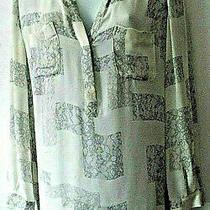 Newjoie Sz S Silk Tunic Top Gray Ivory Photo