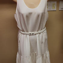 New Joie Winter White Porcelain Belted Sleeveless Dress L Large 318 Photo