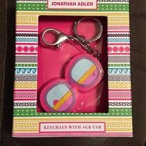 New Jonathan Adler Keychain With 4gb Usb File Storage Sun Glasses Pink Gift Box Photo