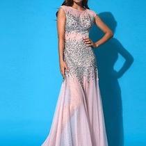 New Jovani Usa 88252 Open Back Prom Dress in Blush Rhinestone Stones Size 6 Photo