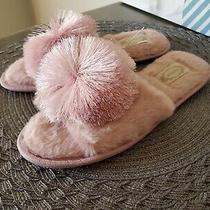 New Joyfolie Women's Slide Fuzzy Slippers Size 6 Tiana Pom Pom Blush Pink Photo