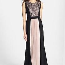 New Js Collections Lace & Pleat Panel Crepe Gown Black /blush  Sz 12   348 Photo