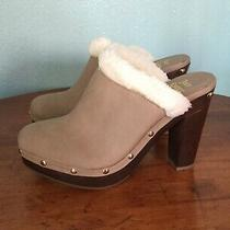 New Juicy Couture Backless Heeled Booties Gold Studded Mules Faux Fur Size 7.5 Photo