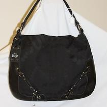 New Juicy Couture Black Fabric Leather Juicy Crown Hobo Purse 278 Photo