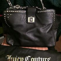 New Juicy Couture Freya Black & Gold Studded Leather Tote Photo