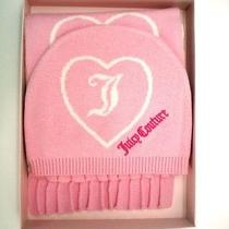 New Juicy Couture  Pink/cream Reversible Hearts Scarf and Hat Box Set Photo
