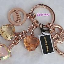New Juicy Couture Three Stones Hearts Rose Gold Key Ring Key Fob Bag Rare Photo
