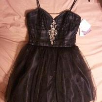 New Junior Short Formal Black Tulle Gem Beading Dress Jessica Mcclintock Sz 9 Photo