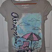 New Juniors Gray Aeropostale Beach Umbrella & Chair T-Shirt. Sparkly. Lg Photo