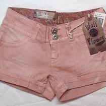 New Juniors Size 1 Wallflower Shorts Blush Pink Denim Jean Embroidered Detail Photo