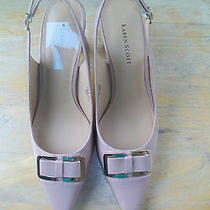 New Karen Scott Newport Blush Patent Slingback Pump Bow & Buckle Detail 8m Photo