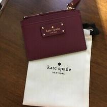 New Kate Spade Adi Grove Street Burgundy Leather Coin Purse Wallet Card Slot  Photo