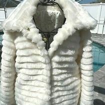 New Kate Spade New York sz.l Cream Faux Fur & Black Bow -Snap Front Jacket  Photo