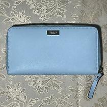 New Kate Spade Newbury Lane Neda Zip Around Clutch Wallet - Blue Hydrangea Photo