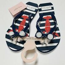 New Kate Spade Nova Lobster Flip Flops Sandals Navy White Striped Sz 6 Nwt Photo
