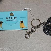New/kathy Van Zealand Key Ring/fob Black Leather Stud Heart W/gift Card Holder Photo
