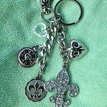 New Kathy Van Zeeland Silver & Crystal Hearts Key Chain Purse Charms Fob Ring Photo