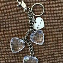New Kathy Van Zeeland Silvertone Key Ring Charm Heart Key Fob Purse Chain Charm Photo