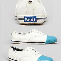 New Keds Kate Spade New York White Kick Scuba Blue Tennis Shoes Sneakers 9 6.5 Photo