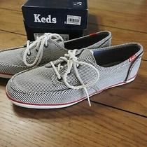 New Keds Sneakers Skipper Stripe Blue and White Womens Size 7 1/2 Photo