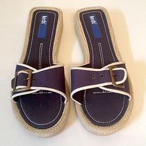 New Keds Womens 7 Blue Sandals Flats Slip on Buckle Jute Open Toe Slides Canvas Photo