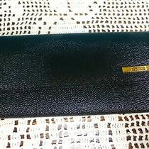 New Kenneth Cole Reaction Black Faux Leather Womens Clutch Wallet Zipper Slots Photo