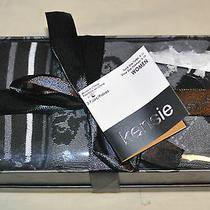 New Kensie Argyle Scroll Striped Gray Black White 3 Pair in Box Prep Socks Photo