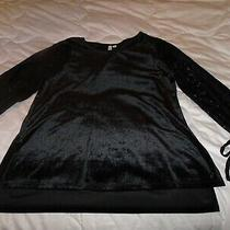 New Kensie Black Velvet Bodice and Lace Sleeve Dressy Pullover Top Blouse M Photo