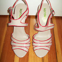 New Kensie Girl Beige Red Strappy Vinyl Trendy Modern High Heel Sandals 9 Photo