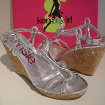 New Kensie Girl Daville Womens Silver Metallic Sandals Wedges Shoes 10 M Photo