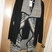 New Kensie Size S Shawl Knit Long Sweater Shirt Cardigan Top 120 Retail Black Photo