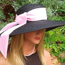 New Kentucky Derby Hat Wide Brim Hat Audrey Hepburn Hat Breakfast at Tiffany's  Photo
