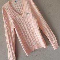 New Lacoste 40 Pink Cableknit Sweater v Neck Medium 8 10 Stretch Blush M Preppy Photo