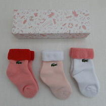 New Lacoste Baby Socks Gift Set White Pink Red in Box Photo