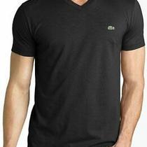 New Lacoste Basic Pima T Shirt v Neck Large Black Photo