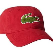 New Lacoste Mens Premium  Baseball Adjustable Hat Croc Logo Cap Tokyo Red Photo