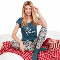 New Ladies Avon Let It Snow Pyjamas Cotton Pj's 14-16 Christmas Stocking Gift Photo