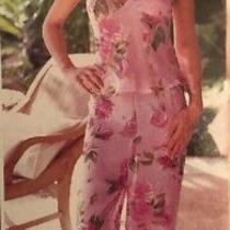 New Ladies Avon Pink Floral Print Pyjamas Summer Pj's 14-16 Florentine Photo