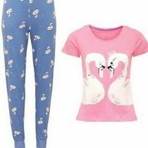New Ladies Avon Swan Glitter Pyjamas Pjs 18-20 Matching Slippers 5-6 Photo