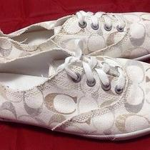 New Ladies Coach Size 10 Klare Ivory Signature Sneakers  Add to Watch List Photo