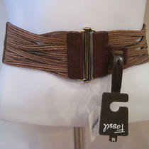 New Ladies Fossil Belt Stretch Leather Waist Tan Brown Sz. Medium Orig. 40 Photo